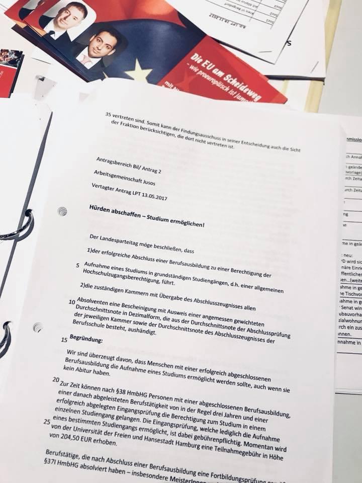 Antrag Jusos Hürden abschaffen - Studium ermöglichen!